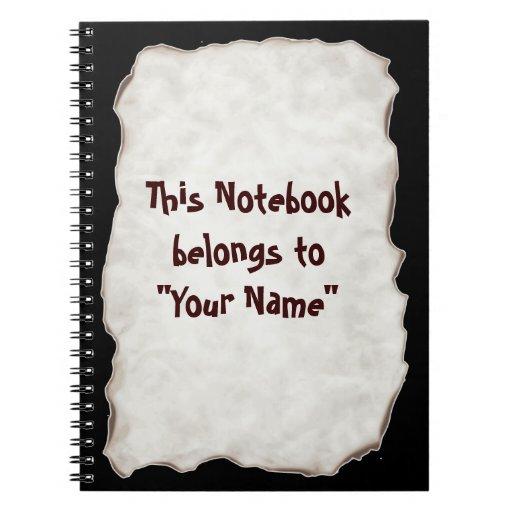 Cuaderno quemado papel viejo