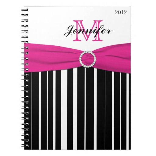 Cuaderno rayado blanco negro rosado personalizado