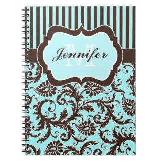 Cuaderno rayado blanco personalizado de Brown de l