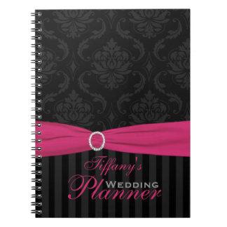 Cuaderno rayado del damasco negro gris rosado
