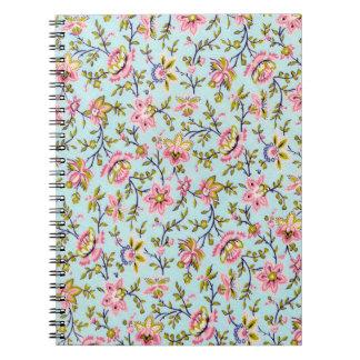 Cuaderno retro de la impresión floral