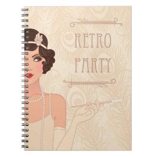 Cuaderno retro del fiesta de Charleston