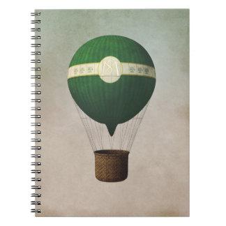 Cuaderno retro del globo del aire caliente