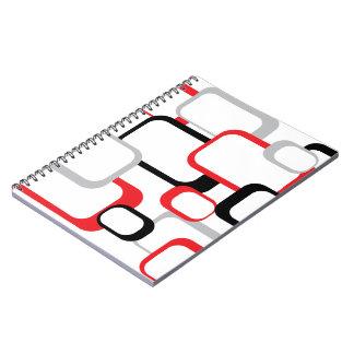 Cuaderno retro del rojo, negro y gris de los cuadr