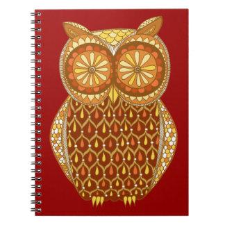 Cuaderno retro maravilloso del búho