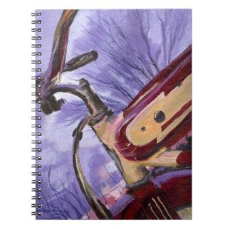 Cuaderno rojo de la bicicleta de los años 40 del