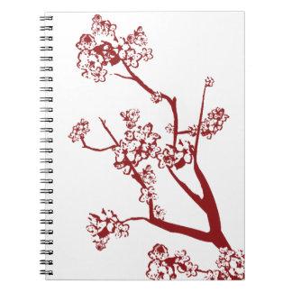 Cuaderno rojo de la flor de cerezo