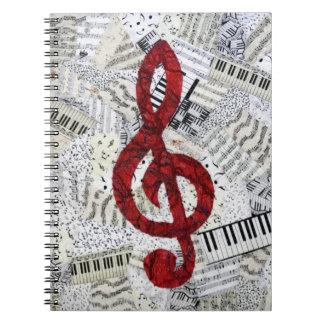 Cuaderno rojo de la música del Clef agudo