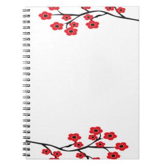 Cuaderno rojo de las flores de cerezo