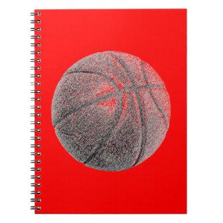 Cuaderno rojo del baloncesto del efecto del lápiz