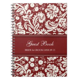 Cuaderno rojo del damasco del libro de visitas del