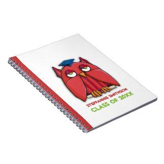 Cuaderno rojo del graduado del búho