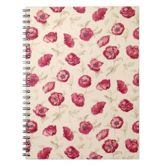 Cuaderno rojo del modelo de las amapolas