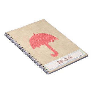 Cuaderno rojo del paraguas del estilo del libro de