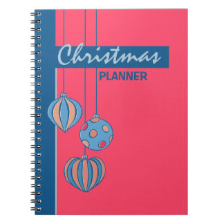 Cuaderno rojo del planificador de las bolas retras