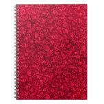 Cuaderno rojo floral retro