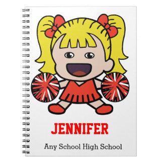 Cuaderno rojo lindo de la animadora