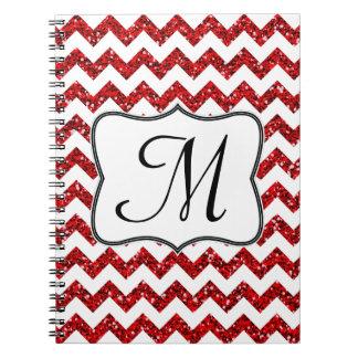 Cuaderno rojo moderno de la inicial del monograma