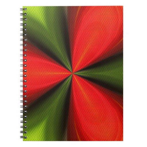 Cuaderno rojo y verde del arte abstracto de las fo