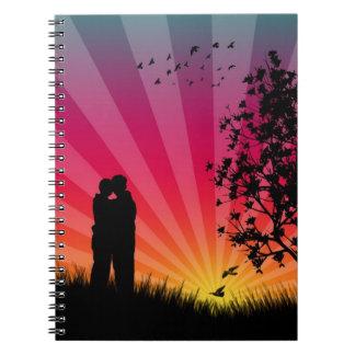 Cuaderno romántico de la puesta del sol