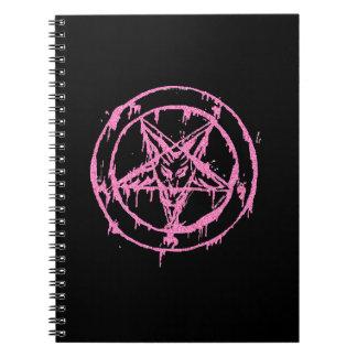 Cuaderno rosado de Baphomet del brillo