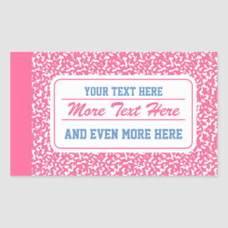 Cuaderno rosado de la composición pegatina rectangular