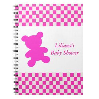 Cuaderno rosado de la ducha del oso de peluche