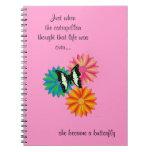 Cuaderno rosado de la mariposa