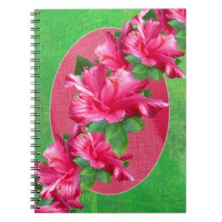 Cuaderno rosado de los leus del hibisco