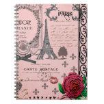 Cuaderno rosado del collage de París del vintage