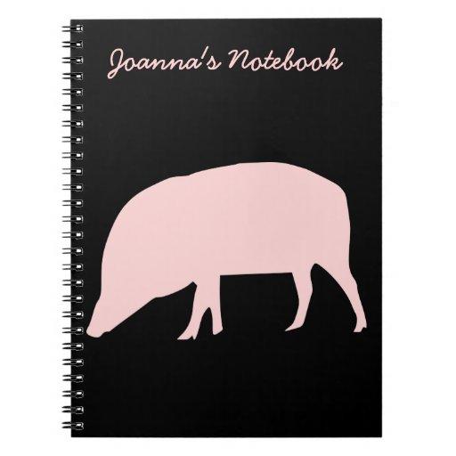 Cuaderno rosado del personalizable del cerdo