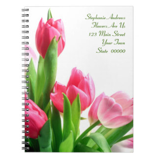 Cuaderno rosado del ramo del tulipán