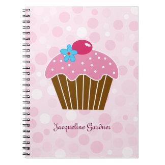 Cuaderno rosado dulce de la magdalena