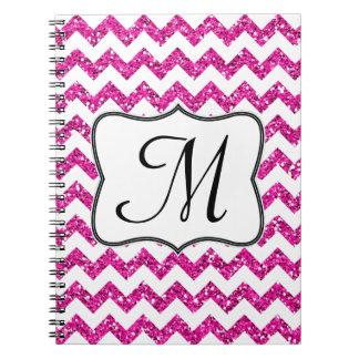 Cuaderno rosado moderno de la inicial del monogram