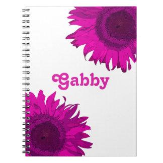 Cuaderno rosado personalizado del girasol del arte