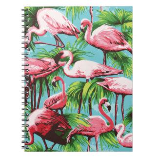 Cuaderno rosado retro fresco de los flamencos