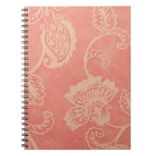Cuaderno rosado y blanco de Paisley
