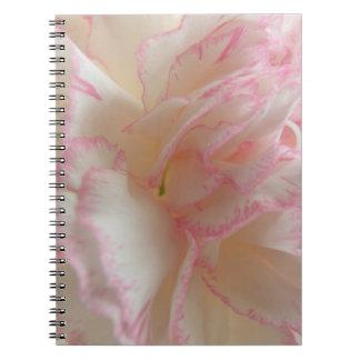Cuaderno rosado y blanco del clavel