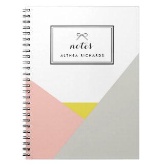 Cuaderno rosado y gris personalizado del Althea