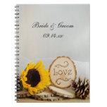 Cuaderno rústico del boda del arbolado de los gira