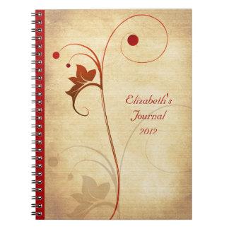 Cuaderno rústico del diario de la baya y de la vid