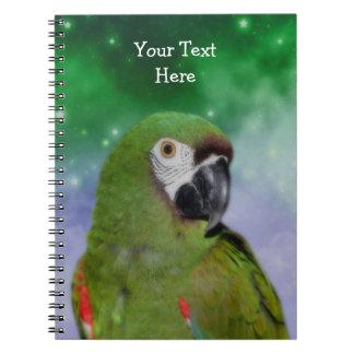 Cuaderno severo del arte del pájaro del loro del M