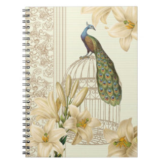 Cuaderno sofisticado del pavo real del vintage y d