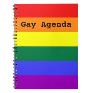 Cuaderno sólido de la raya del arco iris gay del