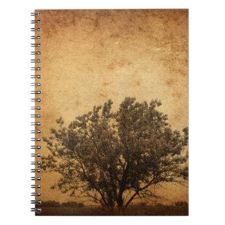 cuaderno sprial del árbol del vintage del diario