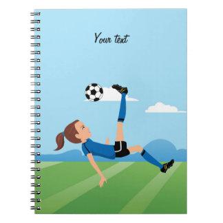 Cuaderno temático del fútbol del chica personaliza