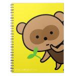 Cuaderno - tetera Tanuki con las hojas