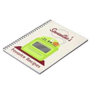 Cuaderno verde claro de la receta de la estufa