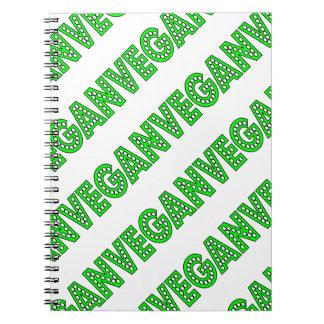 Cuaderno verde del logotipo del vegano