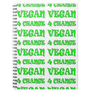 Cuaderno verde del texto del cambio del vegano 4